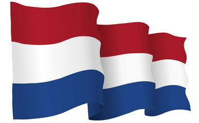 Holland Flag Waving Vector Illustration
