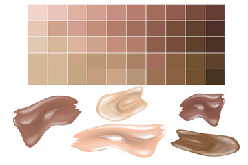 Skin tones Color Palette. Color Shades Palette For Foundation Make Up.