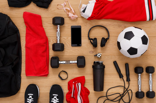 Workout, soccer and sport equipment background