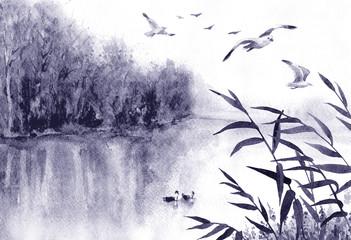 Foto op Plexiglas Lavendel Ink Landscape with Birds and Reeds