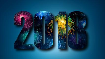 2018 Schrift mit Feuerwerk