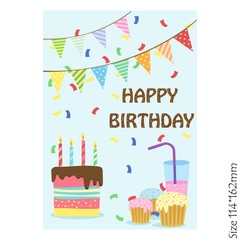 Happy birthday Cake greeting card on a blue background. Vector illustration.