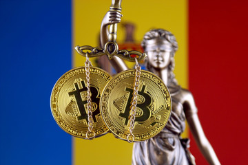 Symbol of law and justice, physical version of Bitcoin and Moldova Flag. Prohibition of cryptocurrencies, regulations, restrictions or security, protection, privacy.