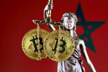 Symbol of law and justice, physical version of Bitcoin and Morocco Flag. Prohibition of cryptocurrencies, regulations, restrictions or security, protection, privacy.
