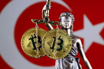 Symbol of law and justice, physical version of Bitcoin and Turkey Flag. Prohibition of cryptocurrencies, regulations, restrictions or security, protection, privacy.