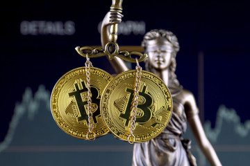 Symbol of law and justice and physical version of Bitcoin. Prohibition of cryptocurrencies, regulations, restrictions or security, protection, privacy.
