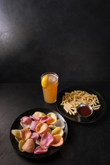 food photography art. french fries junk concept