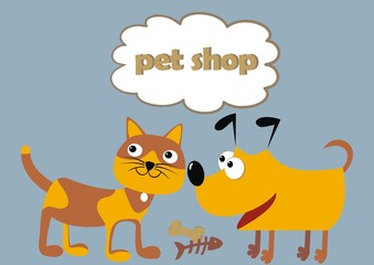 Pet shop, cat and dog, funny illustration, vector icon