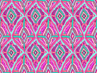 Ethnic ornament pattern abstract fabric pink