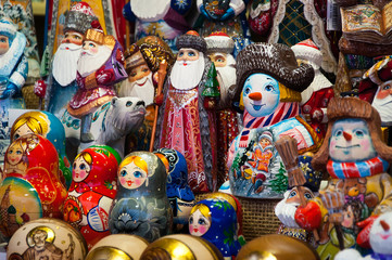 Christmas Market in Red Square, Moscow. Sale of toys, famous and popular fairy-tale characters, figurines