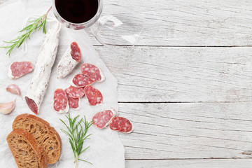 Salami, bread and wine