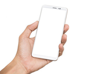 Fototapeta Hand man holding smartphone with blank screen isolated on white background with clipping path obraz