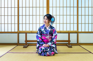 Wall Mural - Asian woman wearing japanese traditional kimono in Japan.