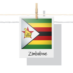 African country flag collection with photo of Zimbabwe flag , vector , illustration