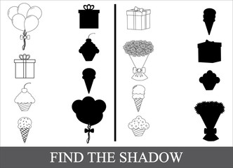 Game for children, find the shadow of holiday icons.
