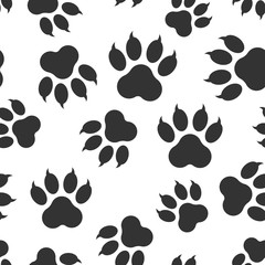 Paw print icon seamless pattern background. Business flat vector illustration. Dog, cat, bear paw sign symbol pattern.