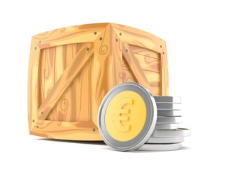 Euro coins with wooden crate