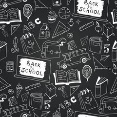 Chalkboard monochrome school icon pattern