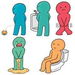 vector set of man peeing