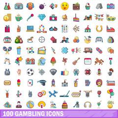 100 gambling icons set, cartoon style