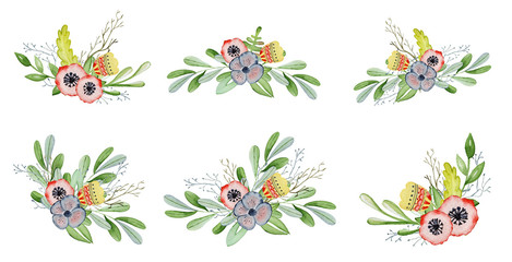 Watercolor floral set with bouquet hand drawn illustration. Tribal flowers, leaves and branch