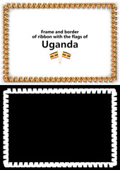 Frame and border of ribbon with the Uganda flag for diplomas, congratulations, certificates. Alpha channel. 3d illustration