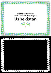 Frame and border of ribbon with the Uzbekistan flag for diplomas, congratulations, certificates. Alpha channel. 3d illustration