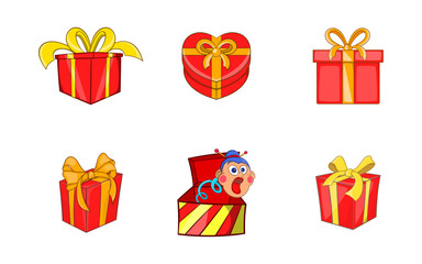 Gift box icon set, cartoon style