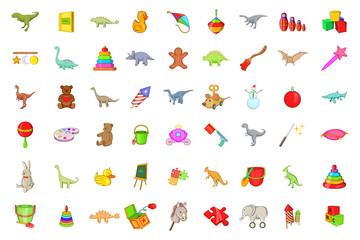 Toys icon set, cartoon style