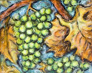 Ripe White Grape Illustration Painting