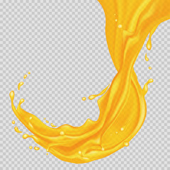 Transparent orange liquid splash. Juice background. Water, honey, oil, juice, beer, shampoo. Vector illustration.