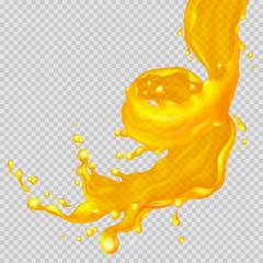 Transparent orange liquid splash flowing in a spiral. Juice background. Water, honey, oil, juice, beer, shampoo. Vector illustration.