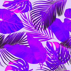 Ultraviolet tropical palm leaves seamless pattern