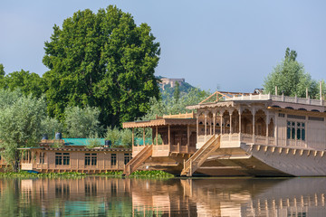 Traditional houseboats on Dal lake in Srinagar, Kashmir, India