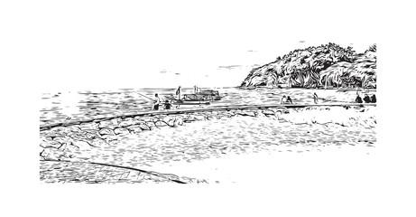 Hand drawn sketch of sea beach, Bali Indonesia in vector illustration.