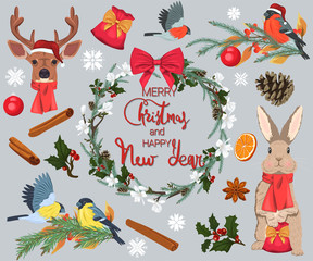 Merry Christmas and Happy New Year. A set of natural decorative elements. Christmas wreath, deer, cute bunny, birds and twigs of needles