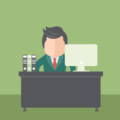 Businessman sitting in office. Flat vector illustration