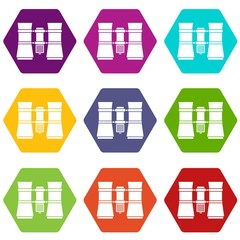 Binoculars icon set color hexahedron