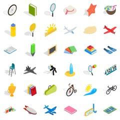 Fun icons set, isometric style