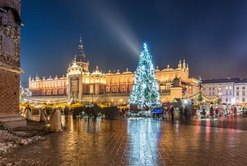 Krakow, Poland, Christmas tree on Main Market square