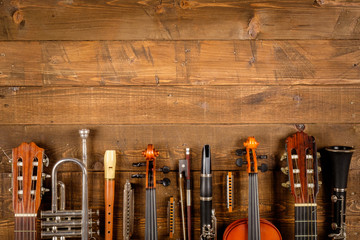 instrument in wood background Wall mural