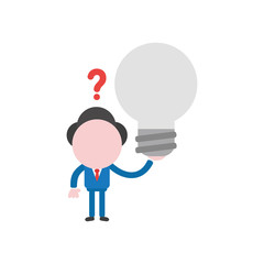 Vector illustration concept of confused faceless businessman character holding grey light bulb with question mark