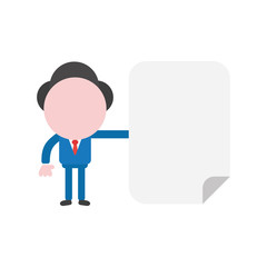 Vector illustration concept of faceless businessman character holding blank paper