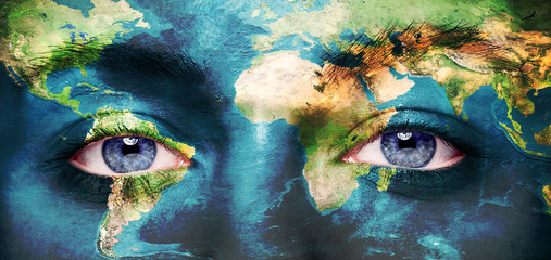 Eyes integrated with the world map. Wall mural
