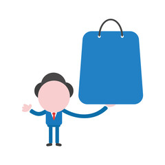 Vector illustration concept of faceless businessman character holding shopping bag