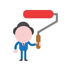 Vector illustration concept of faceless businessman character holding paint roller brush