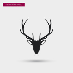 Deer icon simple winter vector sign