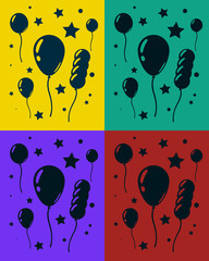 Greeting card set with lot of balloons and stars. Happy birthday. Vector illustration eps