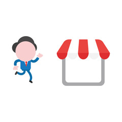 Vector illustration concept of faceless businessman character running to shop store