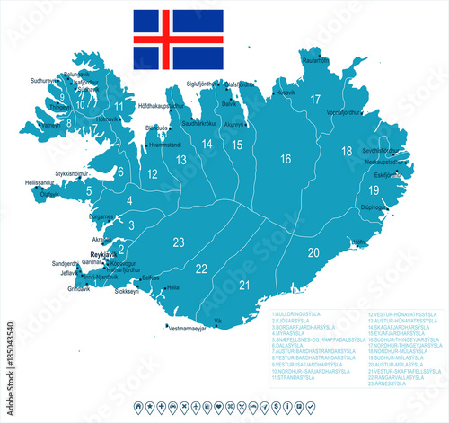 Iceland - map and flag - Detailed Vector Illustration\